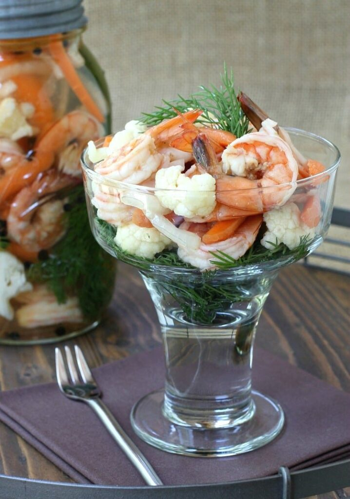 Pickled Shrimp and Vegetables with jar