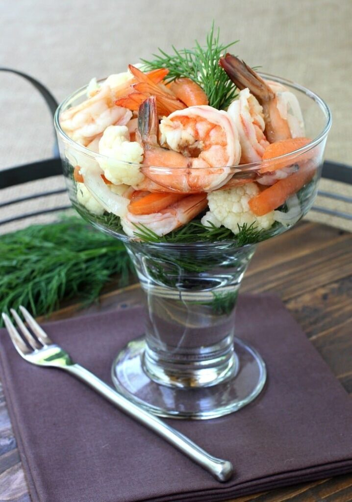 Pickled Shrimp and Vegetables on napkin