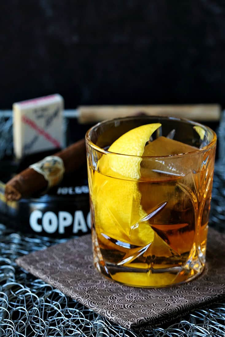 the godfather cocktail with a lemon twist