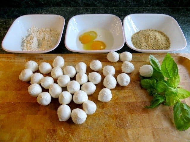 Breading station for Fried Bocconcini Balls