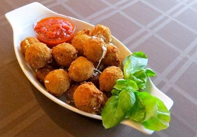 Fried Bocconcini Balls in a bowl