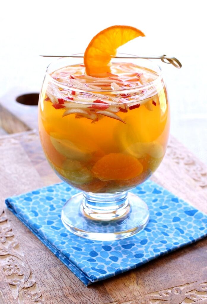Make a pitcher of this BLue Moon Sangria for your next cocktail party!