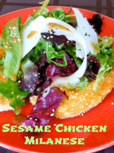 sesame chicken milanese with text