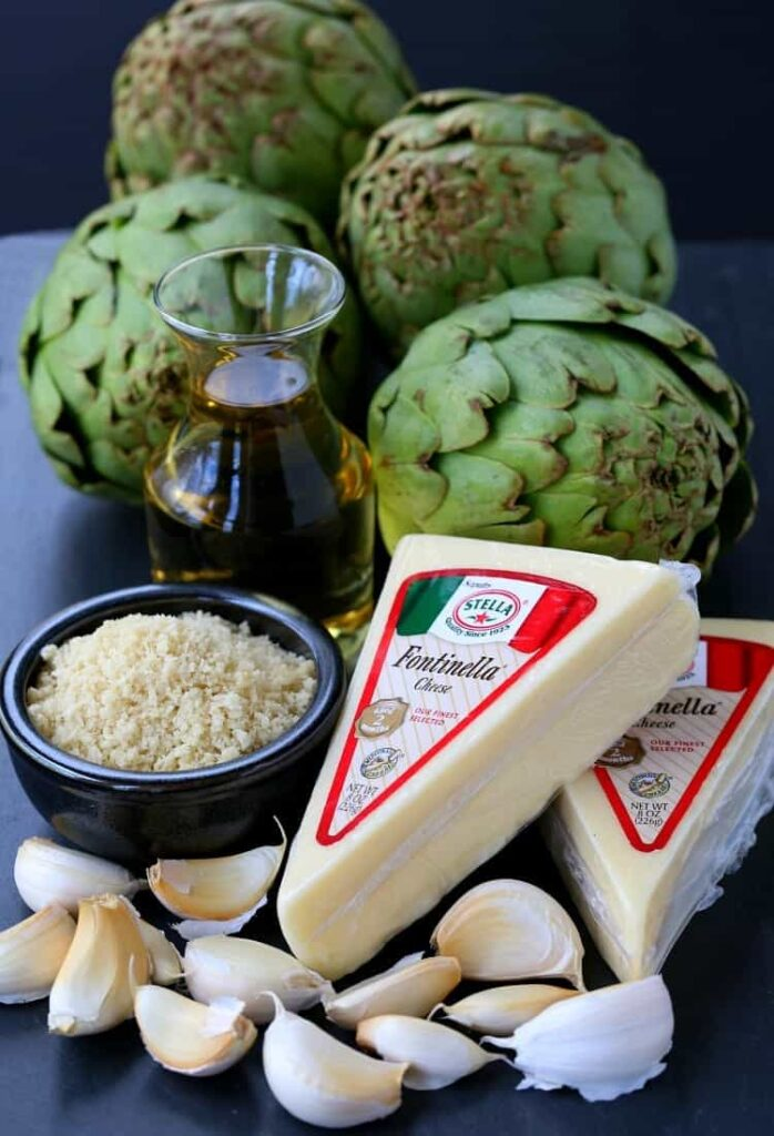 Stuffed Artichokes with Garlic and Fontinella Cheese have just a few simple ingredients!
