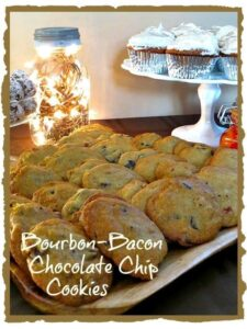Bourbon bacon chocolate chip cookies on a platter