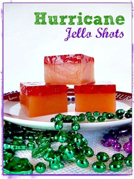 hurricane jello shots with text