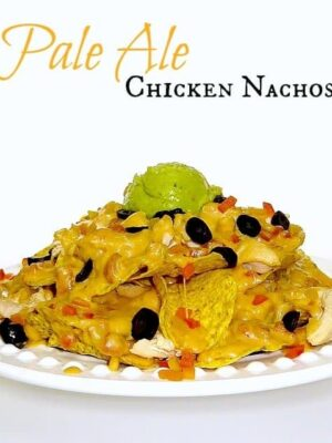 nachos on a whit plate with beer flavored cheese sauce