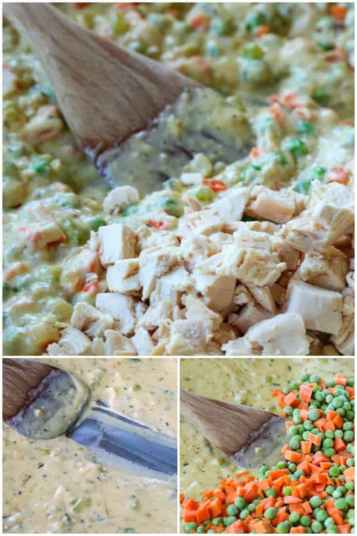 Chicken Pot pie filling collage
