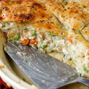 Chicken Pot Pie with a pie server