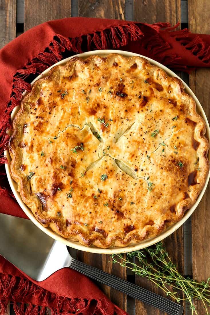 chicken pot pie recipe with pie serve and napkin