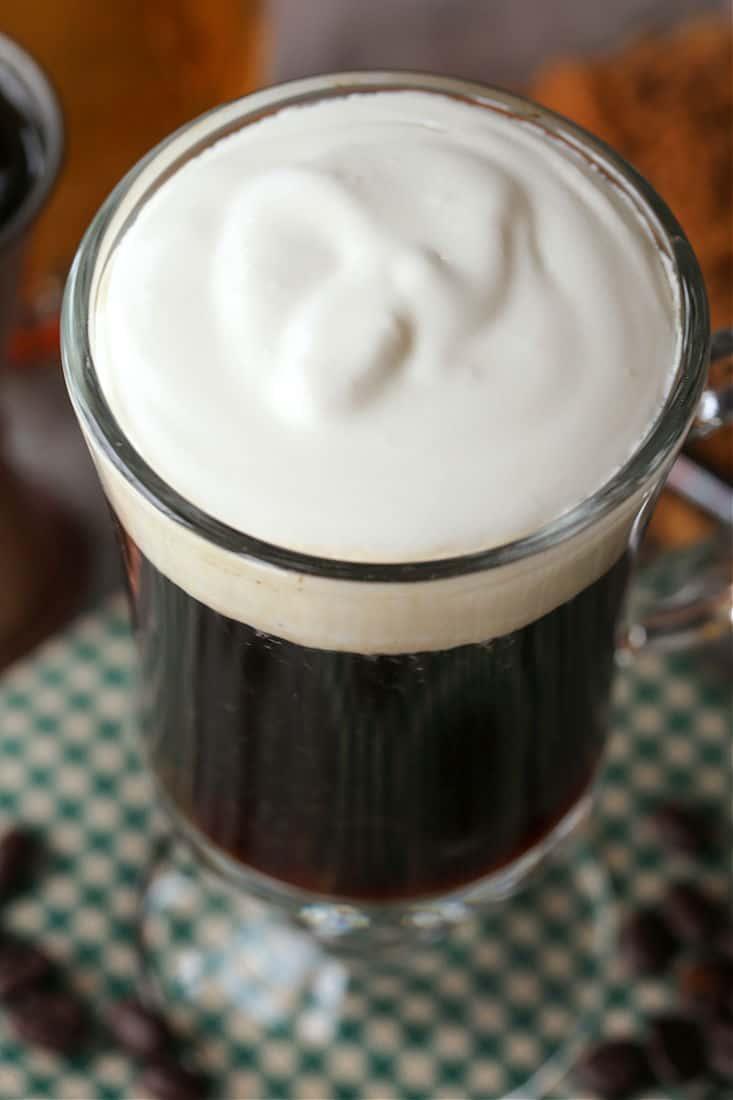 Cream topping on Irish Coffee drink