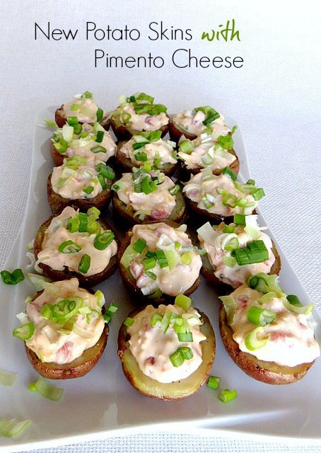 Mini Potato Skins with Pimento Cheese on a platter