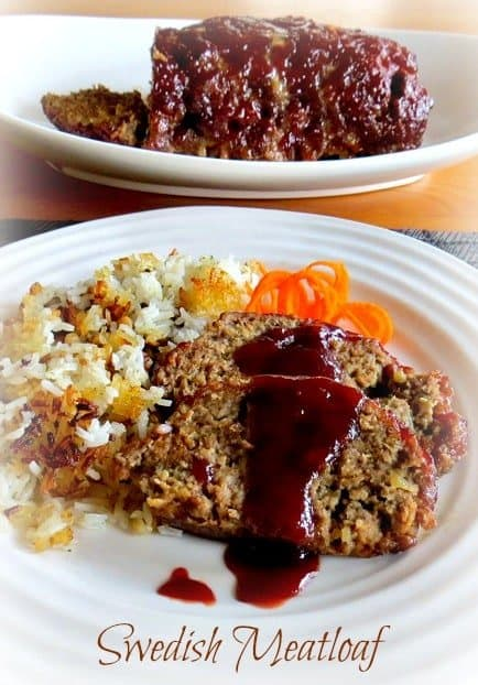 Swedish Meatloaf recipe on a plate