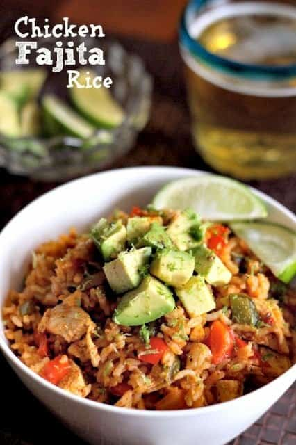 Chicken Fajita Fried Rice is an easy chicken recipe made with peppers, onions and rice