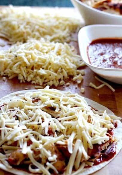 Assembly of Chicken Quesadilla recipe