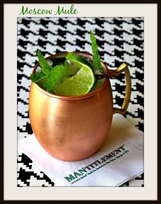Moscow Mule cocktail on a napkin