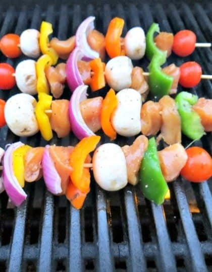 chicken and vegetable kabobs on the grill