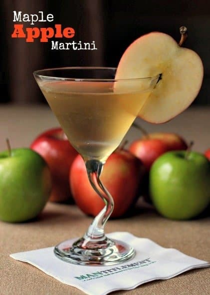 maple apple martini on a napkin