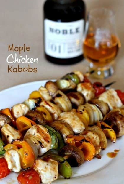 chicken kabobs recipe on a dinner plate