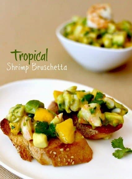Tropical Shrimp bruschetta for serving