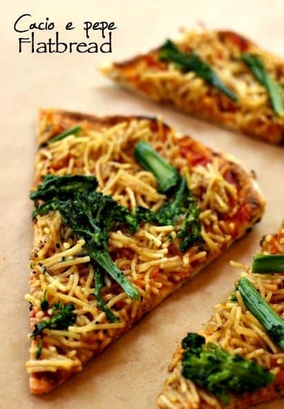Grilled Parmesan Spaghetti Pizza slice with broccoli