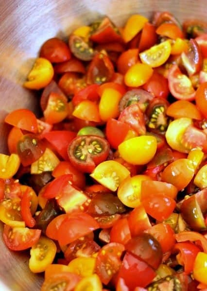 chopped tomatoes for bruschetta recipe with feta cheese