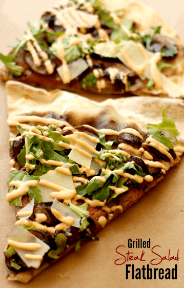 grilled steak salad flatbread