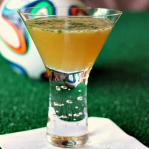 Yellow Card Cocktail with a soccer ball