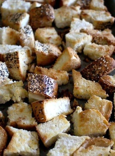 toasted cubes of bread