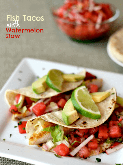 Fish tacos watermelon slaw on a white plate