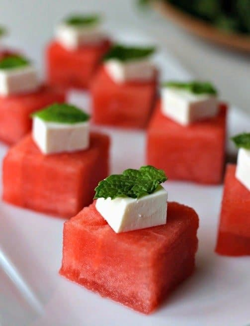 Watermelon-Feta Appetizers on a plate