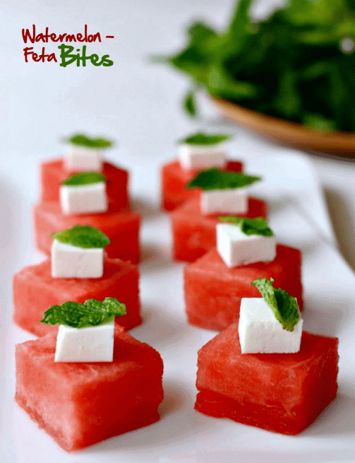 Watermelon Feta Appetizers with mint