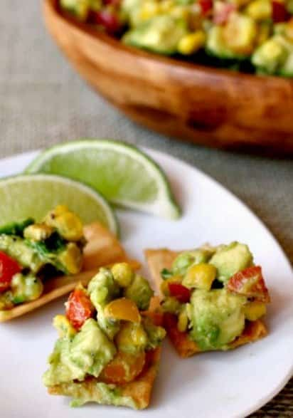 Avocado and Roasted Corn Dip on chips