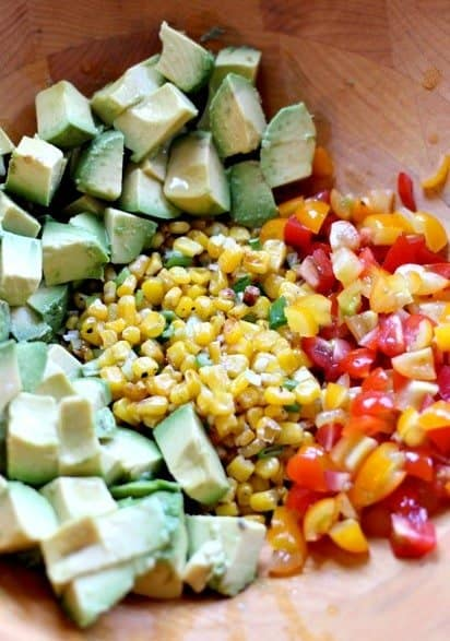 Avocado and Roasted Corn Dip ingredients