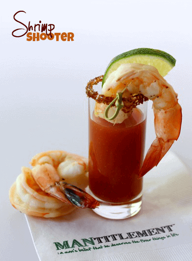 Bloody Mary Shrimp Shooters is a boozy shrimp cocktail recipe