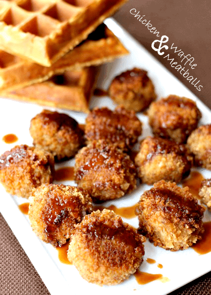 chicken and waffle meatballs with syrup