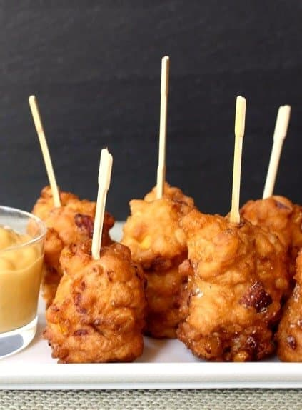 Corn Dog Fritters on a plate