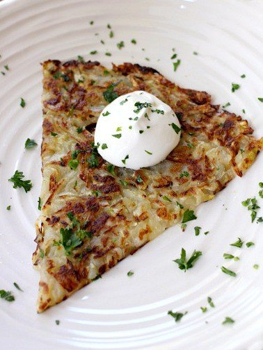 zucchini hash browns on a plate