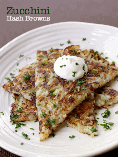 zucchini hash browns with sour cream