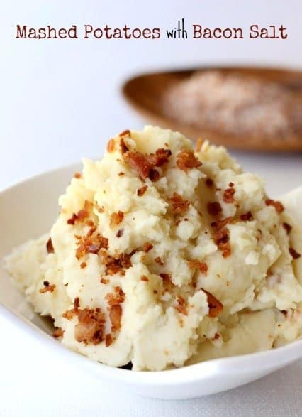 Mashed potatoes with bacon salt