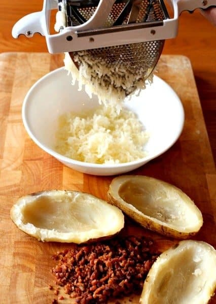 ricing potatoes for twice baked potatoes