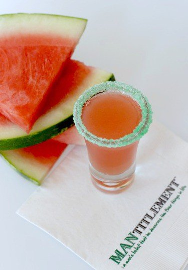 watermelon crawl shot on a napkin