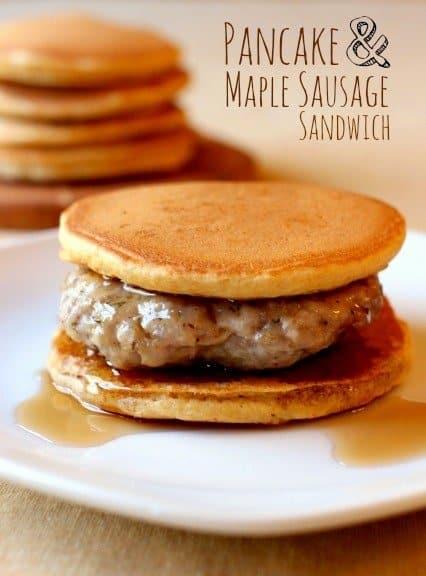 Sausage and Pancake Breakfast Sandwich for a make ahead breakfast recipe