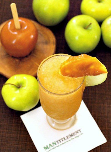 apple bourbon slush on napkin