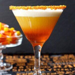 Candy Corn Martini | Creamy, Layered Halloween Martini Recipe