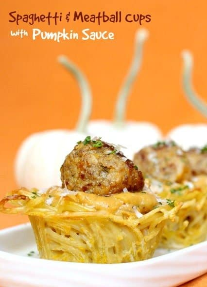 Spaghetti and Meatball Cups with Pumpkin Sauce