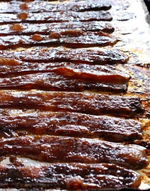 Cooking bacon for Candied Bacon Cornbread