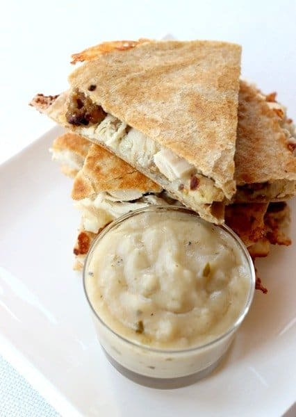 Thanksgiving Quesadillas are a leftover turkey quesadilla recipe with stuffing and gravy