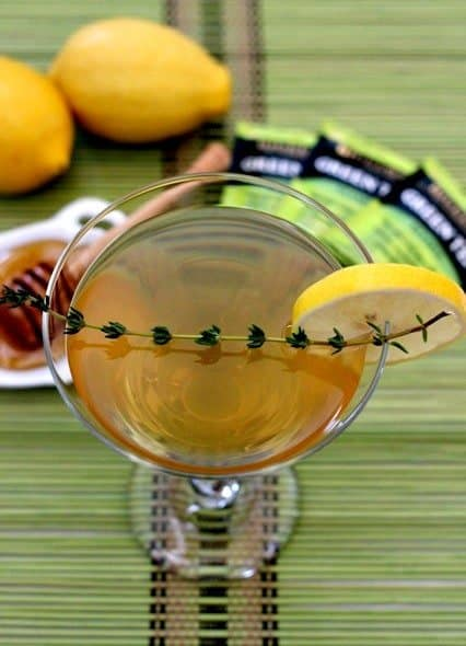 green tea and thyme martini from the top