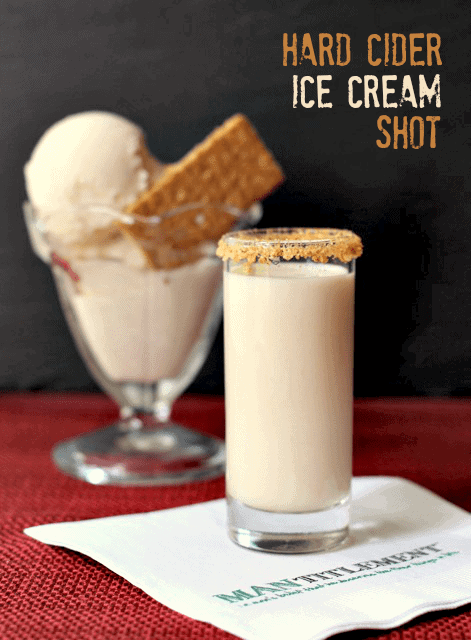 Hard Cider Ice Cream Shot is a cold cider drink with whiskey